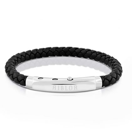 Riblor Benito Leather Bracelet Black And Silver